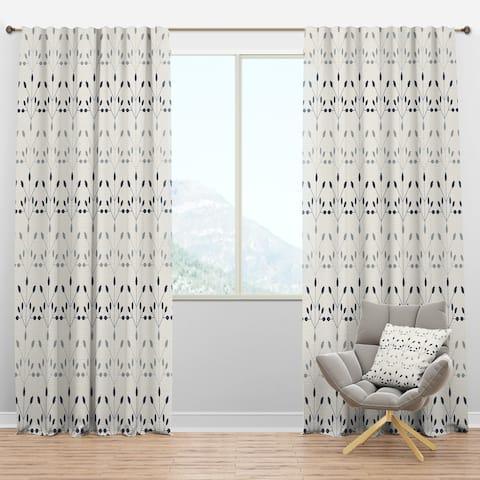 Designart 'Floral Retro Botanical Pattern I' Mid-Century Modern Blackout Curtain Panel