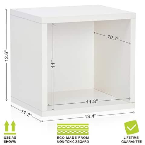 Way Basics Eco Stackable Open Cube, Modular Storage and Organizer, White