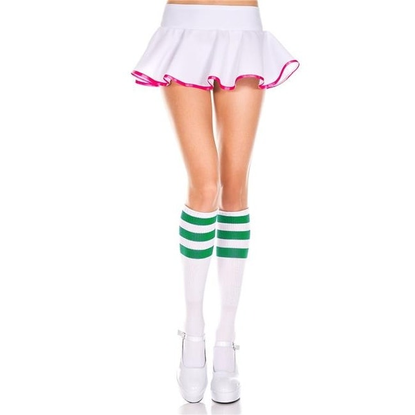 b6c86834be3 Shop 5726-WHITE-KELLY GRN Acrylic Knee High Socks with Striped Top ...
