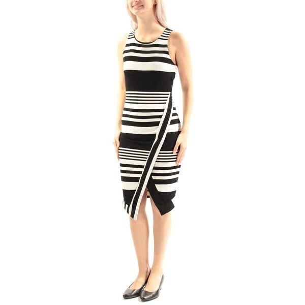 e6d5755f942db Womens Black Ivory Striped Sleeveless Below The Knee Tulip Dress Size: S