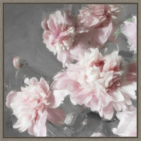 Pink Peonies on Gray II by Shawna Sullivan Framed Canvas Art