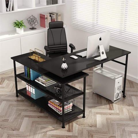 L-Shaped Computer Desk with Storage Shelves Rotating Desk