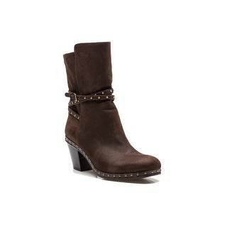 Miu Miu Women's Soft Leather Studded Adjustable Strap Boot Shoes Brown - 10 us