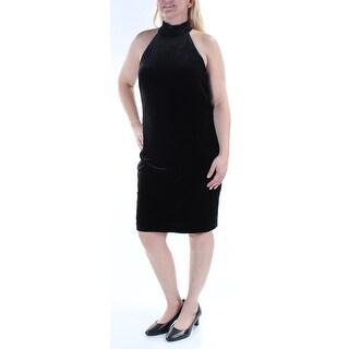 RALPH LAUREN $149 Womens New 1375 Black Velvet Halter Sleeveless Dress 14 B+B