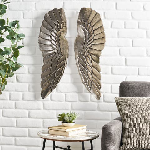 Lithonia Indoor Aluminum Handcrafted Angel Wings Wall Decor by Christopher Knight Home