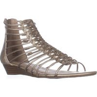 AR35 Averi Gladiator Wedge Sandals, Platino
