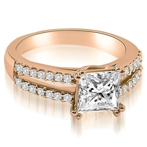 0.96 cttw. 14K Rose Gold Princess Split Shank Diamond Engagement Ring