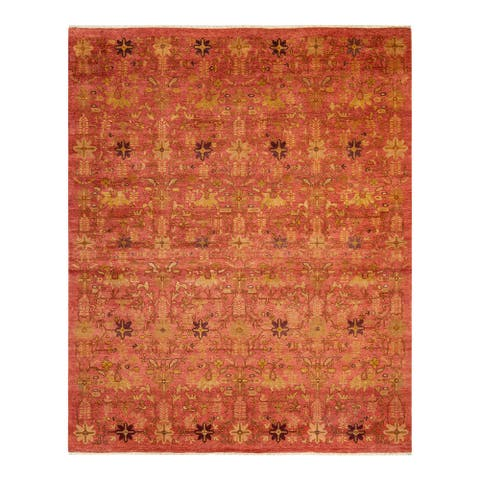 """Eclectic, One-of-a-Kind Hand-Knotted Area Rug - Orange, 8' 1"""" x 9' 10"""" - 8' 1"""" x 9' 10"""""""