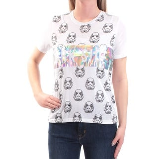 Womens White Silver Dark Side Short Sleeve Crew Neck T-Shirt Top Size XS