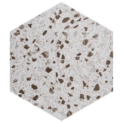 "SomerTile Venice Hex XT White 8.63"" x 9.86"" Porcelain Floor and Wall Tile"