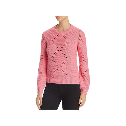Vero Moda Womens Sweater Ribbed Trim Pullover - Pink Carnation - S