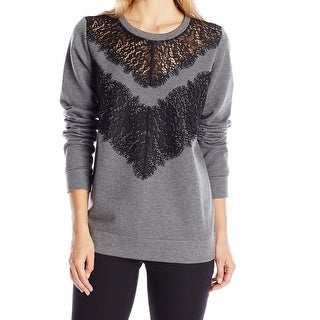 French Connection NEW Gray Lacy Women's Size Small S Crewneck Sweater