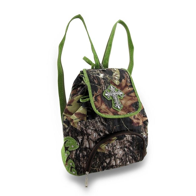 Forest Camouflage Rhinestone Cross Backpack Sling Bag (Green)