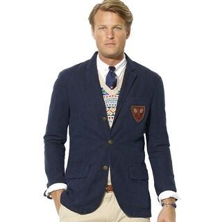 Polo Ralph Lauren Mens Crested Langely Sportcoat 44 Long 44L Navy Jacket Blazer