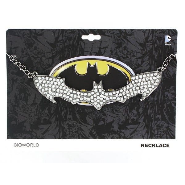 Batman Logo Rhinestone Bling Choker Necklace