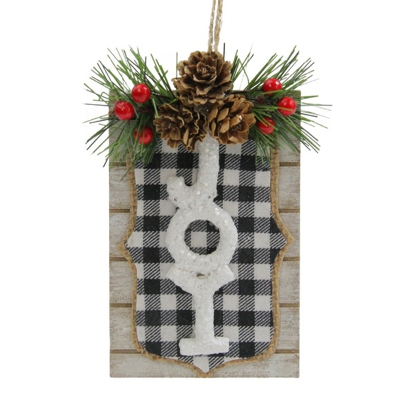 """4.75"""" Black and White Checkered Joy Sign Christmas Ornament. Opens flyout."""