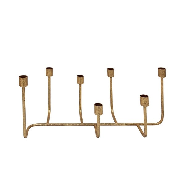 Decorative Metal Candle Holder with Seven Taper Stand, Copper