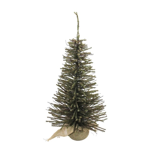 2.5' Warsaw Twig Artificial Christmas Tree with Burlap Base - Clear Lights - brown
