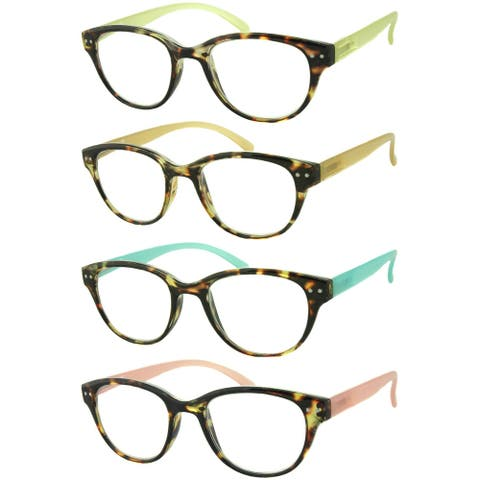 Unisex Rounded Colored Reading Glasses - 4 Pair Pack