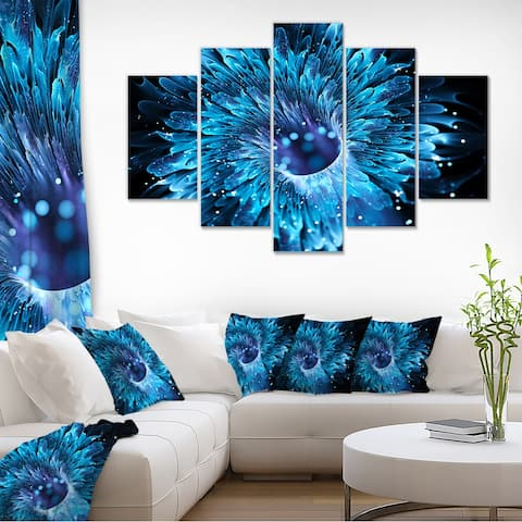 Designart 'Blue Magical Wormhole Fractal' Large Abstract Canvas Wall Art