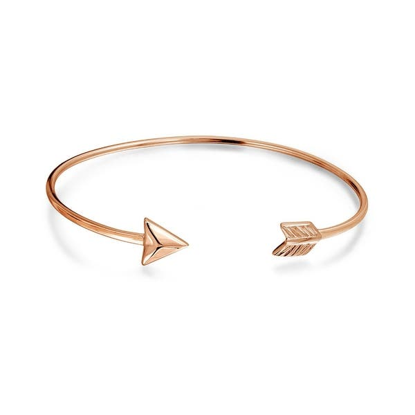 324026912e6 Cupids Arrow Tips Bangle Cuff Bracelet For Women For Teens High Polish Rose Gold  Plated 925