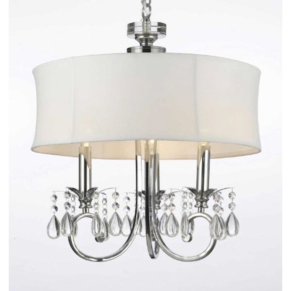 Chrome 3 Light Chandelier with Crystals and Shade