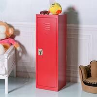 Costway 48'' Kid Locker Safe Storage Children Single Tier Metal Lockers Lock And Key Red