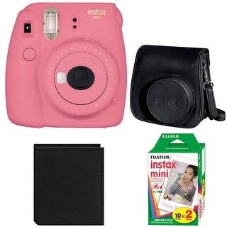 Fujifilm Instax Mini 9 (Flamingo Pink) w/ Groovy Case & Accessory Bundle