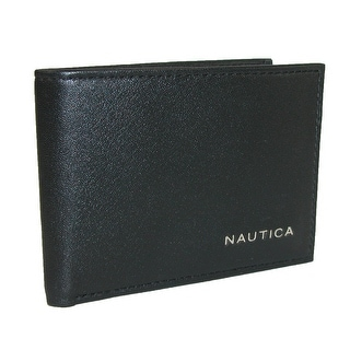 Nautica Men's Leather Weatherly Slim Passcase Bifold Wallet - Black - One Size