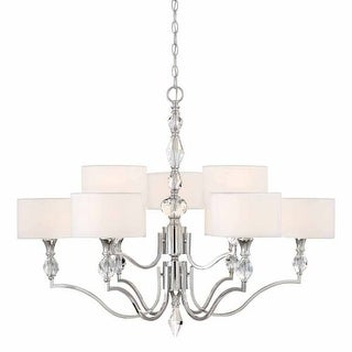"Designers Fountain 89989 Evi 9 Light 35"" Wide 2 Tier Shaded Chandelier with Crystal Accents"