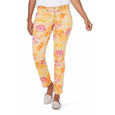 NYDJ Women's Pants Orange Size 10 Sheri Slim Stretch Ankle Print