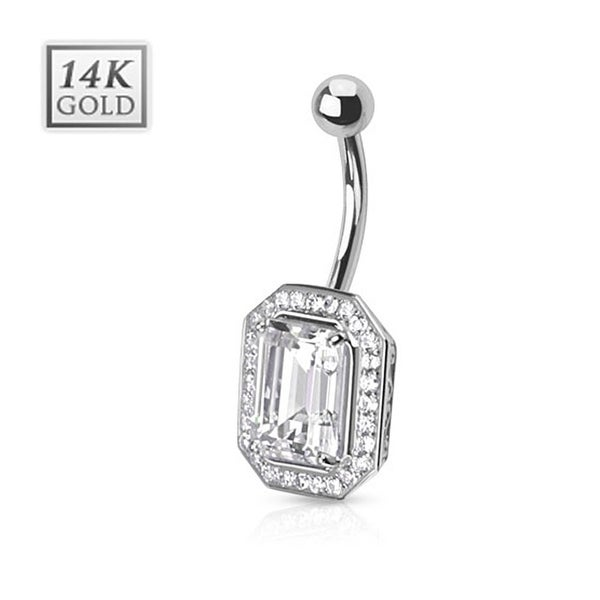 Princess Cut CZ Pronged Multi Paved Gems Around 14 Karat Solid White Gold Navel Belly Button Ring with
