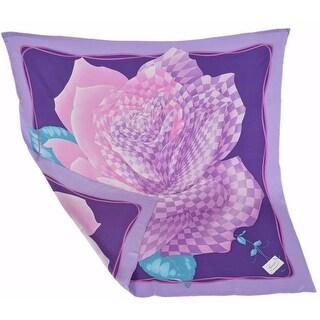 "Gucci Women's 349387 Lilac Rosedam Silk Twill Floral Square Neck Scarf - 35"" x 35"""