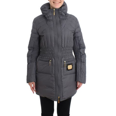 Roccobarocco Gray Padded Down Jacket Padded Women's Coat - it46-l