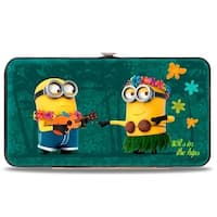 Minion Hula It's In The Hips Floral Collage Jade Green Hinged Wallet - One Size Fits most