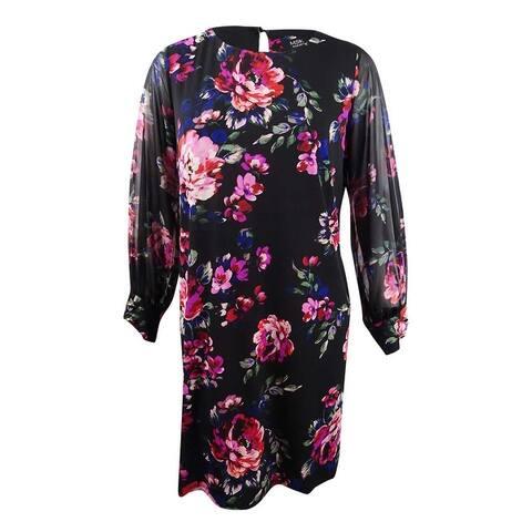 MSK Women's Plus Size Long-Sleeve Floral A-Line Dress - Black Multi