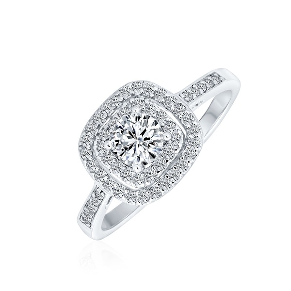 1CT Square Halo Solitaire Engagement Ring AAA CZ 925 Sterling Silver. Opens flyout.