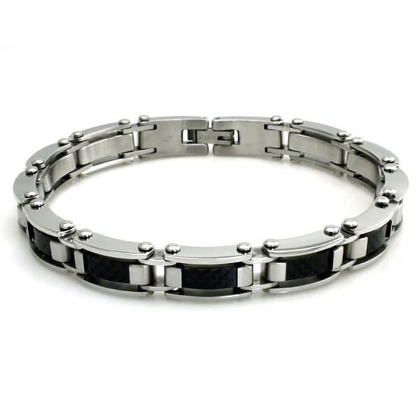 Stainless Steel Dome Black Carbon Fiber Link Bracelet - 8.5 inches