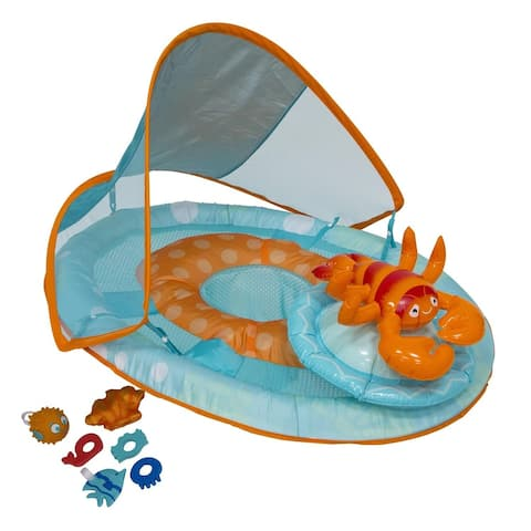 """36"""" Inflatable Blue and Orange Lobster Baby Swimming Pool Float with Canopy"""