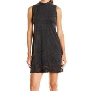 Jessica Simpson NEW Black Womens Size 8 Faux-Suede Laser Cut Shift Dress