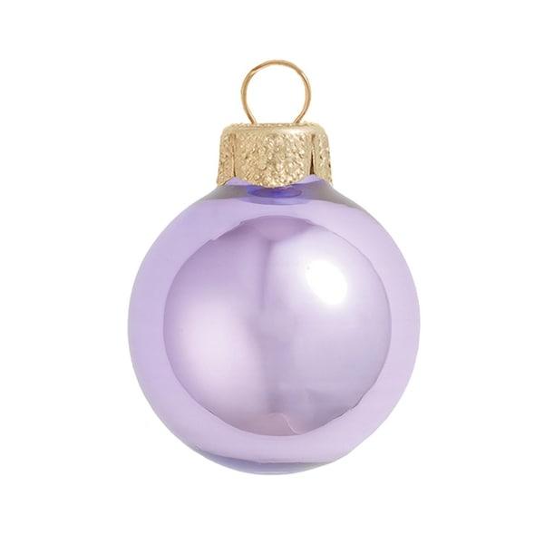 "6ct Pearl Lavender Purple Glass Ball Christmas Ornaments 4"" (100mm)"