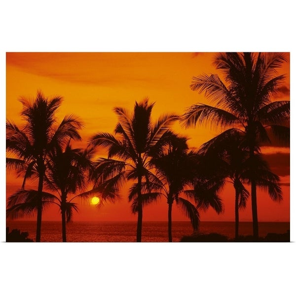 """Palm trees silhouetted by bright yellow sunball, red sunset sky"" Poster Print"