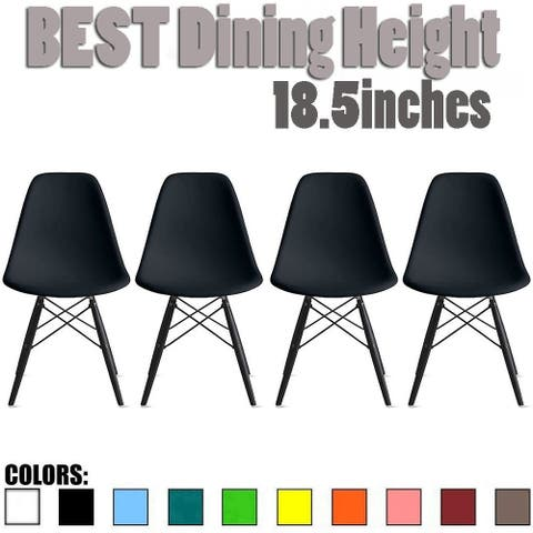 Set of 4 Retro Designer Plastic Molded Shell Dining Chairs Dark Wooden Kitchen Office DSW Eiffel Dowel Bedroom Desk
