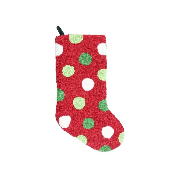 "21"" Plush Loop Knit and Velveteen Polka Dot Patterned Christmas Stocking - green"