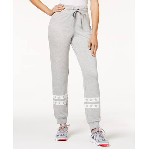 Material Girl Juniors Printed Jogger Pants Heather Grey Size Extra Large - 10