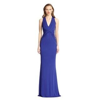 Badgley Mischka Jersey Twist Waist Open Back Evening Gown Dress - 6