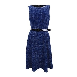 Tommy Hilfiger Women's Denim-Print Belted Jersey Dress - Midnight