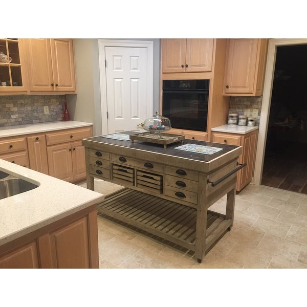 Shop The Gray Barn Firebranch Wood And Stone Kitchen Island   Free Shipping  Today   Overstock.com   19856359