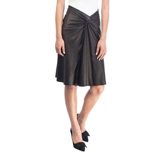 Prada Women's Leather Vintage Skirt Black - 6
