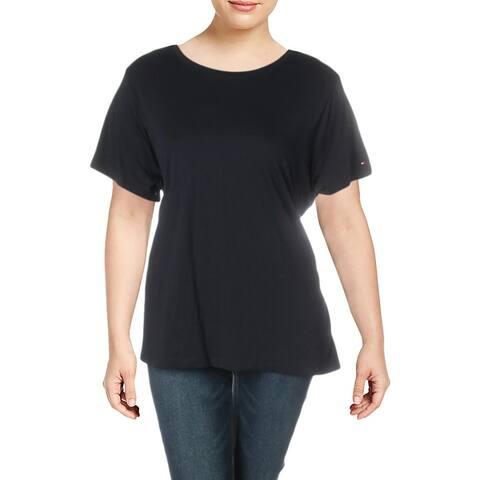 Tommy Hilfiger Womens Plus T-Shirt Logo Tie-Waist